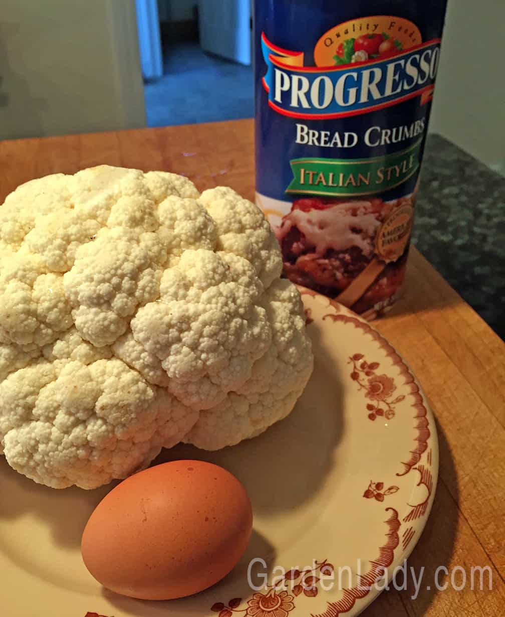 One head of cauliflower, one egg, and bread crumbs. Simple. I used Italian flavored bread crumbs, but you could use plain or panko style as well.