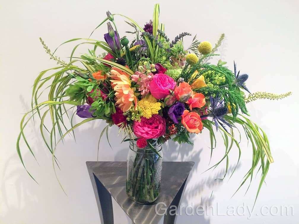 Here's the bouquet I made for Molly's wedding. It has the lovely Big Blue Eryngium flowers included with several other colorful blooms.