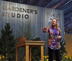 C.L. Fornari selling the excitement about plants and gardening at the Philadelphia Flower Show.