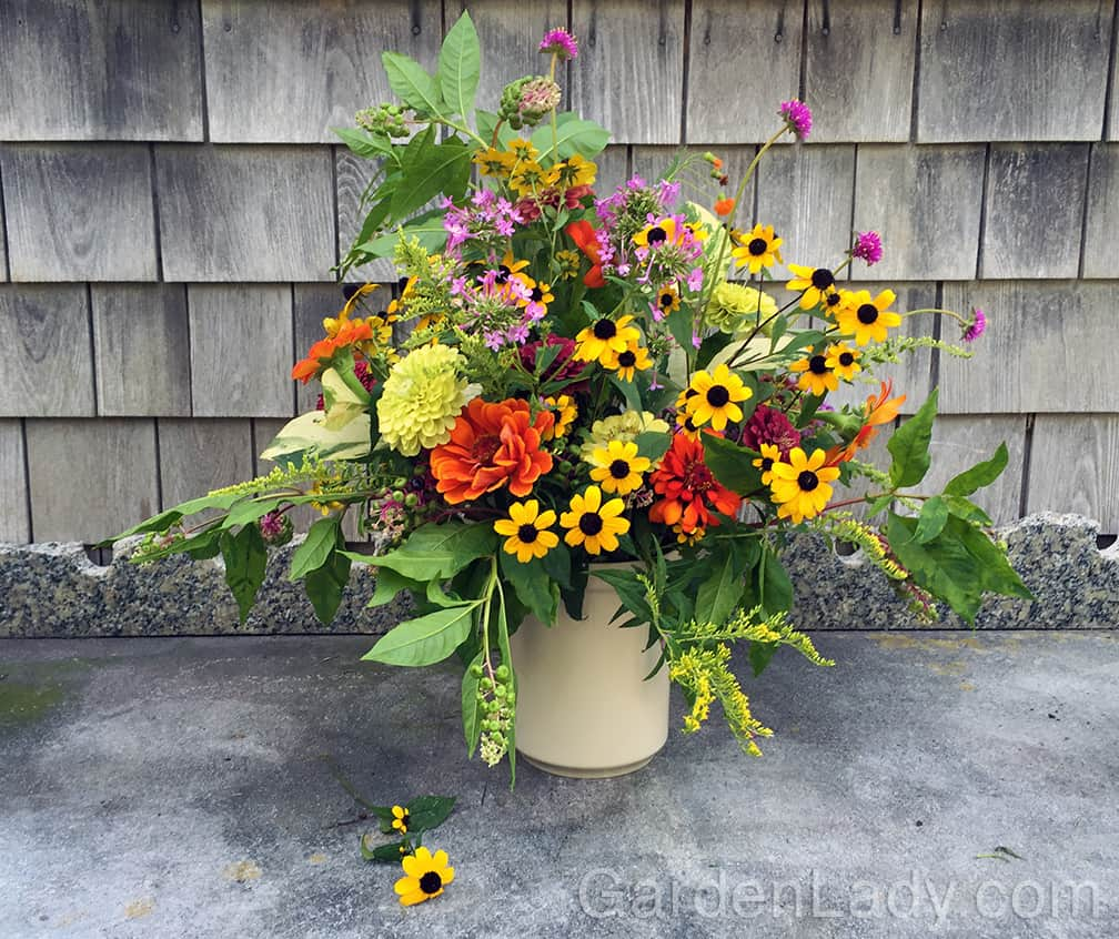 Here is a garden bouquet that includes some stems of Pokeweed. Pick them when the berries are green so that the ripe, black ones don't fall off and stain your tables or floors.
