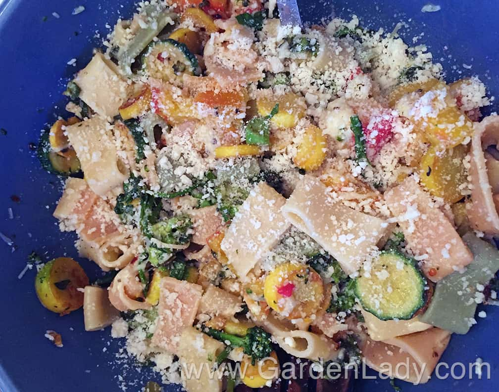 Once the pasta tubes were cooked I added them to the bowl and tossed it all together. Sprinkle with more parm and serve.