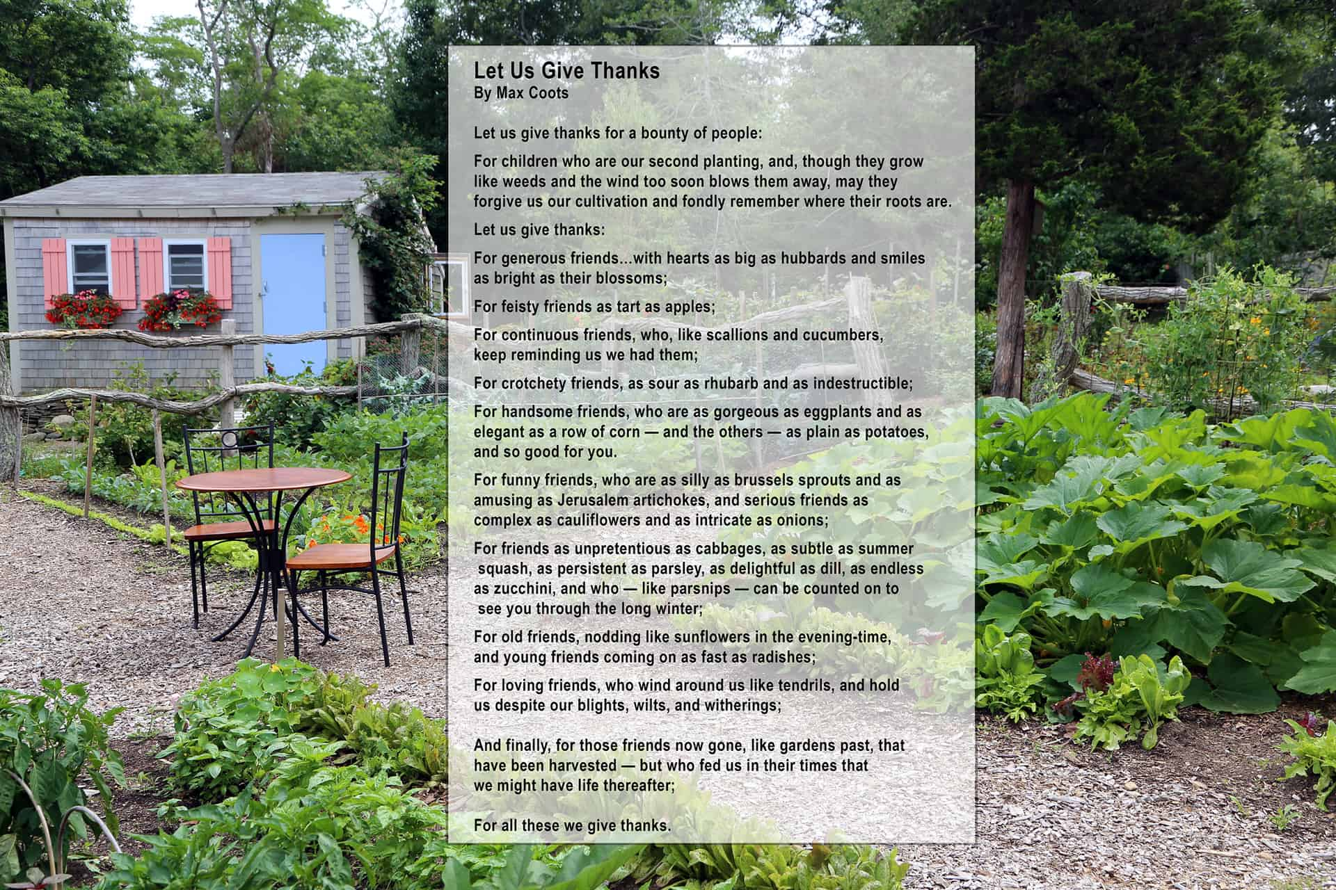 Thanks to my friend Karen for reminding me about this poem.