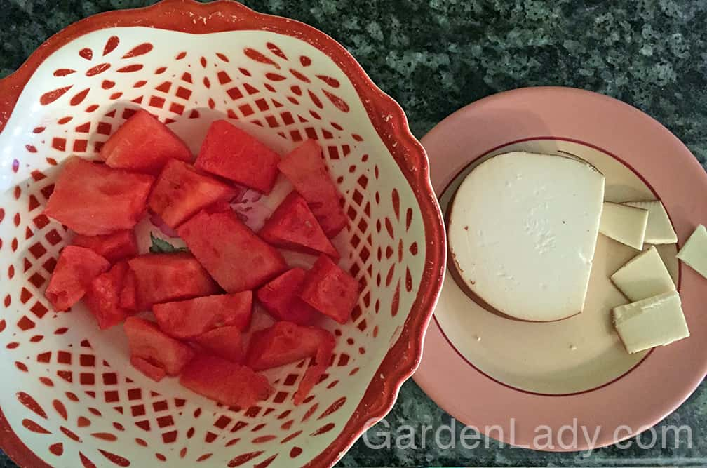 The  sweet, fresh, juicy crunch of the watermelon contrasts perfectly with the smoky, creamy gouda cheese.