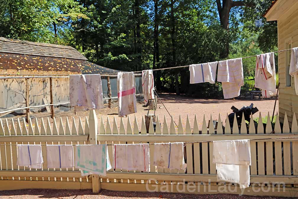 At the Smith Family Farm Garden the washed but well-used dish towels added an authentic air to the back yard. Clotheslines somehow tug at our hearts...
