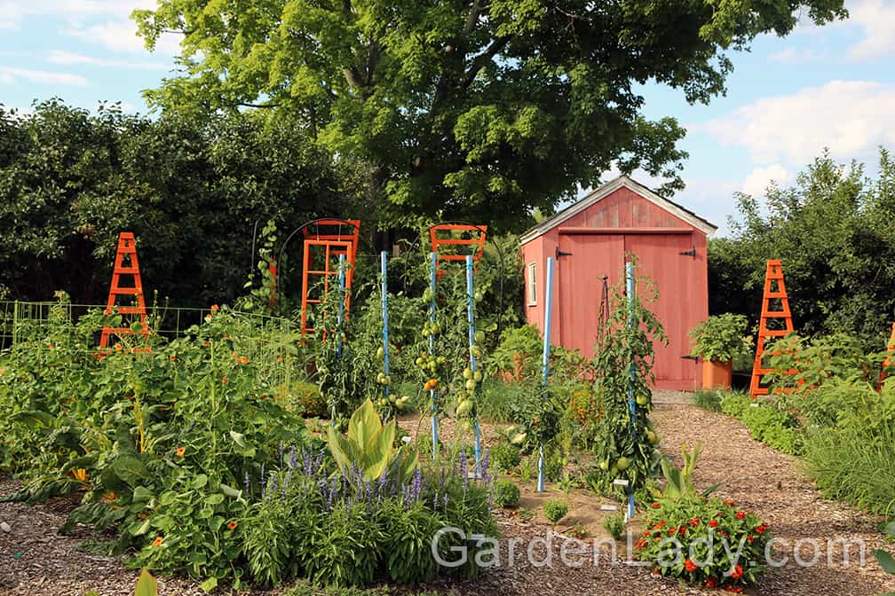 Tower Hill's vegetable garden is made even more pleasing by the shed and colorful plant supports. But that's only the icing on the cake.