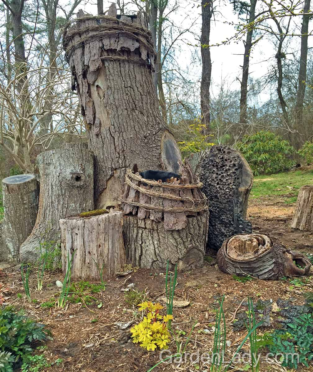 """I have returned this wood to the out-of-doors. It will grace my """"loggery"""" garden and add it's magic to this life-sized fairy garden at Poison Ivy Acres. And every time I see it I'll smile and think of what we do for love."""